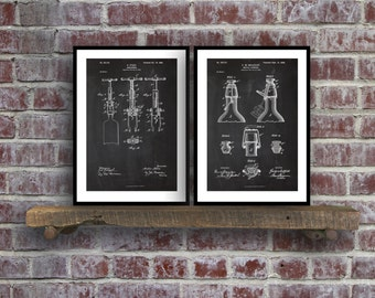 Inventions of Wine Patent Print Set of 2  Wine Patent  Wine Art  Wine Wall Art  Wine Decor  Wine Bar  Cork Screw Wine Poster sp15