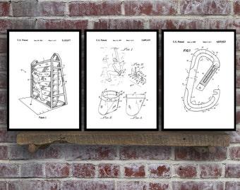 Rock Climbing set of 3 - Climbing prints - Climbing Poster - Rock Climbing mixer pack - Vintage climbing Patents - Rock Climbing sp78