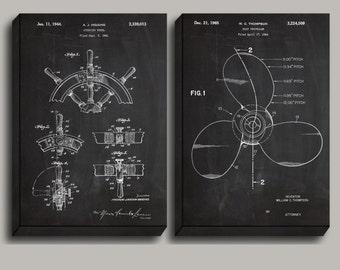 CANVAS  Ship's Wheel Patent Ship Propellor Poster Nautical Decor Nautical Wall Art Nautical Blueprint Vintage Ship Decor sp487