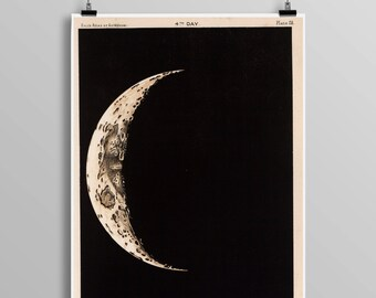 Vintage Telescopic View Of The Moon, Full Moon Map Reproduction, Science Student, Lunar Astronomy, Moon Phases, Astronomer Gift Idea 0435