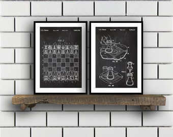 Chess Prints  Set of 2  Chess Patent Chess Poster Chess Blueprint Chess Print Chess Art Chess Decor sp201