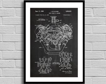 High Torque V-8 Engine Patent, Engine Patent Poster, Engine Blueprint, Engine Print, Car Decor, Auto Decor, Mechanic Gift,Garage Decor p1121