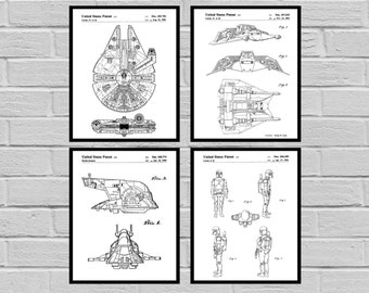 Star Wars Patent Millennium Falcon Tie Bomber Xwing ATAT Star Wars Poster Star Wars Patent Millennium Falcon Star Wars Print SP559