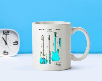 Bass Guitar patent mug  coffee mug  coffee lover patent art patent mug Guitar Decor Fender Bass Guitar Musician Gift Guitar ArtM246