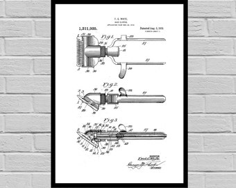 Shaving Clipper Shaving Inventions - Shaving Patent - Men's Bathroom Art - Men's Bathroom Wall Art - Razor Patent - Shaving clipper sp107
