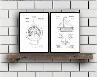 Nautical Patent SET of 2 Nautical Patent  Nautical Art  Nautical Patent  Mancave Decor  Nautical Sailing Art Home Decor SP458