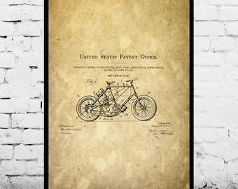 Motorcycle Blueprint Patent Poster, Wall Art Poster, Motorcycle Print, Wall Art Poster, Patentprints, Motorcycle Art p1120
