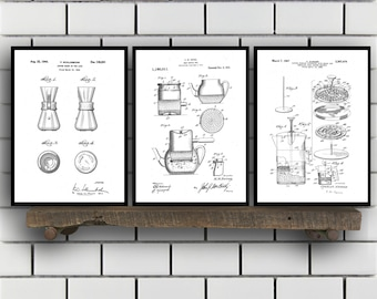 Coffee Related Patent Set of THREE, Coffee Invention Patent, Coffee Poster, Coffee Print, Coffee Patent, Coffee Inventions SP174