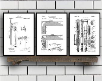 Woodworking Patent Prints Set of THREE, Woodworking Tools Patents, Tools, Carpenter tool Inventions, Woodworking Decor, Mancave SP390