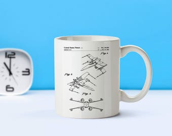 Star Wars XWing patent mug  coffee mug  coffee lover  patent art  patent mug  Star Wars   Sci FiM264 SP1003