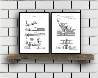 Dentist Patent Prints Dentist Set of TWO Dentist Invention Patent Dentist Poster Dentist Print SP282