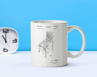 Pinball Machine patent mug  coffee mug  coffee lover  patent art  patent mug  Game Decor Arcade Collectible Vintage Retro DecorM130