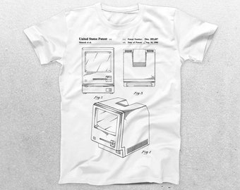 Apple Computer Patent T-Shirt, Macintosh Computer Blueprint, Patent Print T-Shirt, Technology Shirt, Computer Programmer p903