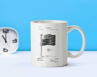 American Flag patent mug  coffee mug  coffee lover  patent art  patent mug  Patriotic Gift Veteran Gift American Novelty GiftM174