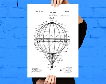 Hot Air Balloon Poster Hot Air Balloon Print Hot Air Balloon Patent Hot Air Balloon Art Hot Air Balloon Blueprint p614