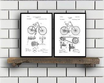 Bicycle Patent Bicycle Set of TWO Bicycle Invention Patent Bicycle Poster Bicycle Print Bicycle Inventions SP250