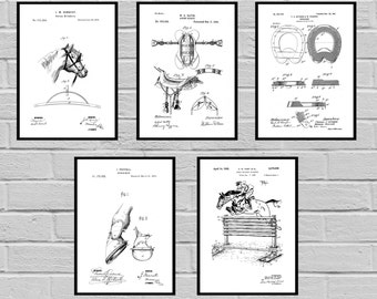 Equestrian Inventions 5 Pack SET Equestrian Patent Equestrian Art Wall Art Horse Saddle Patent Horse Jump Patent Equestrian art sp418