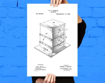 Bee Hive Patent Bee Hive Poster Bee Hive Print Bee Hive Art Bee Hive Decor Bee Hive Blueprint p463