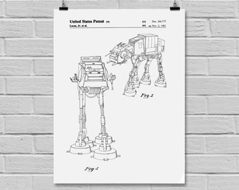 Star Wars AT-AT Star Wars Poster At-At Star Wars Patent At-At Star Wars Print Millennium Falcon At-At Black and white p948