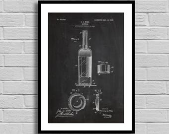 Wine Bottle Patent Wine Bottle Patent Poster Wine Bottle Blueprint Wine Bottle Print Wine Gifts Winery Decor p1081