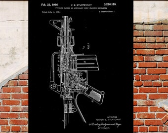 m-16 Rifle Poster m-16 Rifle Patent m-16 Rifle Print Rifle Decor m-16 Rifle Art m-16 Rifle Blueprint m-16 Rifle Wall Art Gun p198