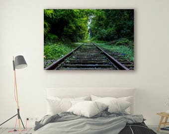 Train tracks Photography Pine Trees in Forest Tree Art Tracks Landscape Nature Photography Home Decor Tree Photo  Decor Train PH015