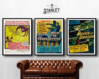 MOVIE posters set of 3 vintage movies Classic Horror Vintage b house of frankenstein Poster Art Vintage Print Art Home Decor monster sp593