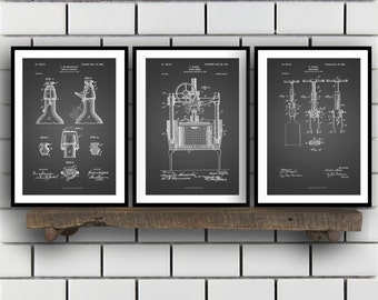 Wine Patent Print Set Of 3 - Wine Patent art - Wine Inventions - Oenology - Winemaker - Wine Wall Art - Vintner - Wine Bar Decor sp12