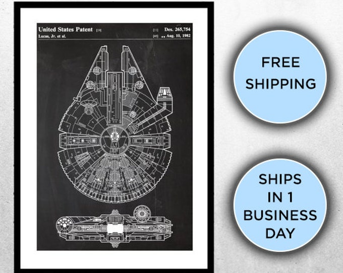 Featured listing image: Star Wars Millennium Falcon Star Wars Poster Millennium Falcon Star Wars Patent Millennium Falcon Star Wars Art Millennium Falcon p933