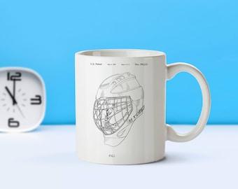 Goalie Mask patent mug  coffee mug  coffee lover  patent art  patent mug  Hockey Decor Sports Decor Hockey Gift Coach GiftM218