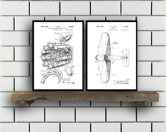 Airplane Patent Airplane poster Set of TWO Airplane Invention Patent Airplane Poster Airplane Print Airplane Inventions SP221
