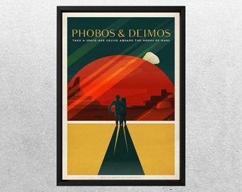 SPACEX MARS POSTER, Phobos & Deimos, Space travel posters, Retro Space Designs, SpaceX Mars, Retro Space, Space Poster, Space sp500a