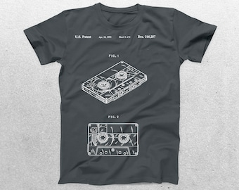 Cassette Player Patent T-Shirt, Cassette Player Blueprint, Patent Print T-Shirt, Musician T-Shirt, Gifts for Music Lovers p755