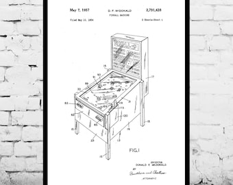 Pinball Machine Patent, Pinball Machine Poster, Pinball Machine Blueprint,  Pinball Machine Print, Pinball Machine Art, Pinball Decor p231