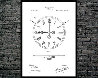 Clock Patent 19th Century Clock Clock Poster Clock Blueprint  Clock Print Clock Art Clock Decor p440