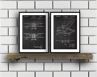 Airplane Patent Airplane poster Set of TWO Airplane Invention Patent Airplane Poster Airplane Print Airplane Inventions 2P223