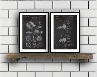 Chess Prints  Set of 2  Chess Patent Chess Poster Chess Blueprint Chess Print Chess Art Chess Decor sp199