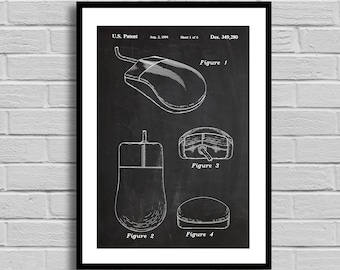 Mouse Patent Mouse Patent Poster Mouse Blueprint Mouse Print Computer Decor Vintage Technology Tech Gift Nerd Gift Office Decor p658