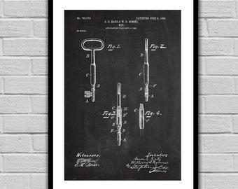 Skeleton Key Patent Vintage Key Poster Vintage Key Blueprint Vintage Key Print Vintage Key Art Vintage Key Decor p267