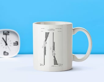 Browning Firearm patent mug  coffee mug  coffee lover  patent art  patent mug Gun Decor Gun Gift Military GiftArmy Decor Vintage M77