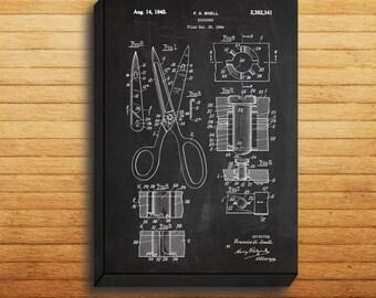 CANVAS  Scissors Art Scissors Print Scissors Poster Scissors Patent Scissors Decor Scissors Wall Scissors Art Scissors Blueprint p259