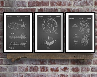 Soccer Patent Prints - Set of 3 - Soccer Cleats Patent Poster, Soccer Shoes Blueprint, Soccer Ball Print, Soccer Decor, Sports Art sp50