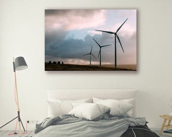Nature Photography canvas art framed print poster prints Modern Art Agriculture Home Decor Scenery Wall Decor Tree Wind Turbine PH077