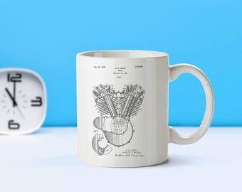 Harley Davidson Engine patent mug  coffee mug  coffee lover  patent art  patent mug  Motorcycle DecorHarley Davidson CollectiblesM216