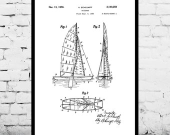 Sailboat Print Sailboat Poster Sailboat Patent Sailboat Decor Sailboat Art Sailboat Wall Art Sailboat Blueprint Nautical Design p420