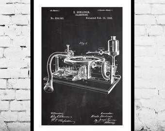 Gramophone Patent Gramophone Poster Gramophone Decor Gramophone Art Gramophone Print Gramophone Blueprint Gramophone Wall Art Music p590