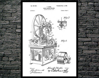 Bandsaw Patent , Bandsaw Poster, Bandsaw Print, Bandsaw Art, Bandsaw Decor, Bandsaw Wall Art p1089