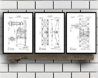 Wright Brothers Related Patent Set of THREE, Wright Brothers Invention Patent, Airplane Poster, Airplane Print,Airplane Inventions SP189