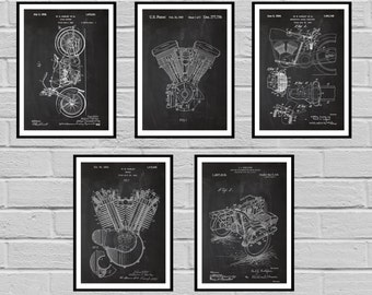 Harley Davidson Patent Set of 5 motorcycle prints  Harley Poster  Harley Davidson Motorcycle  Harley Engine  Harley  Motorcycle sp431