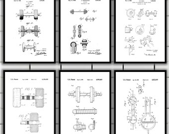Dumbbell Patent Poster Set of 6, Dumbbell Patent, Dumbbell Poster, Dumbbell Print, Dumbbell Patent Art, Dumbbell Inventions SP152